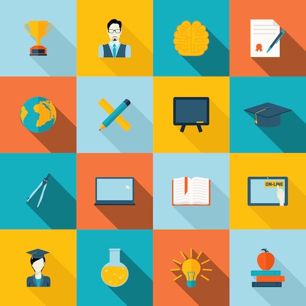 Education icons flat Premium Vector