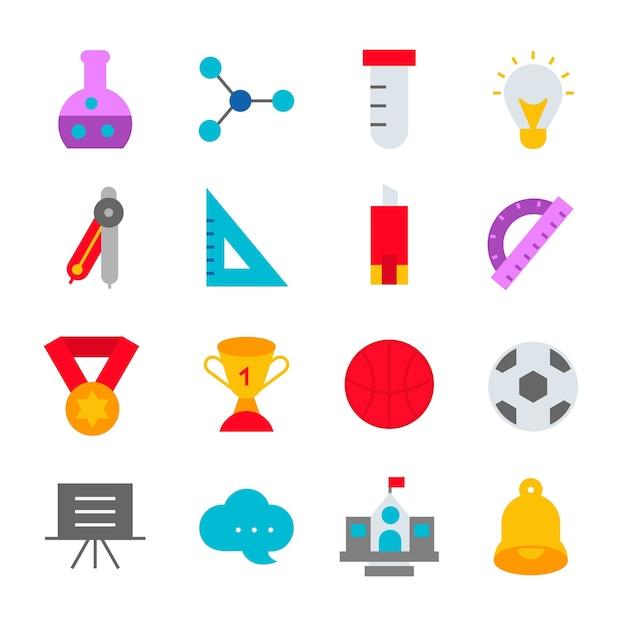Education icons set school design logo illustration Premium Vector