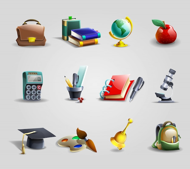 Education icons set Free Vector