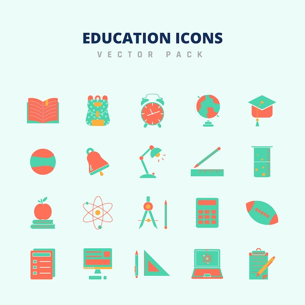 Education icons vector pack Premium Vector