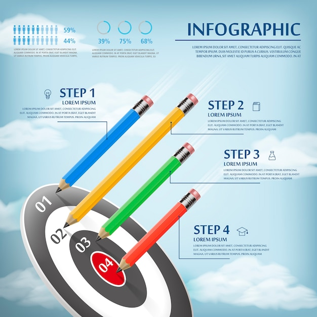 Education infographic template design with pencils and target Premium Vector