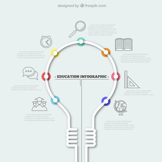 education infographic with a light bulb vector