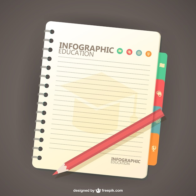 Education infographic with a notebook and a\ pencil
