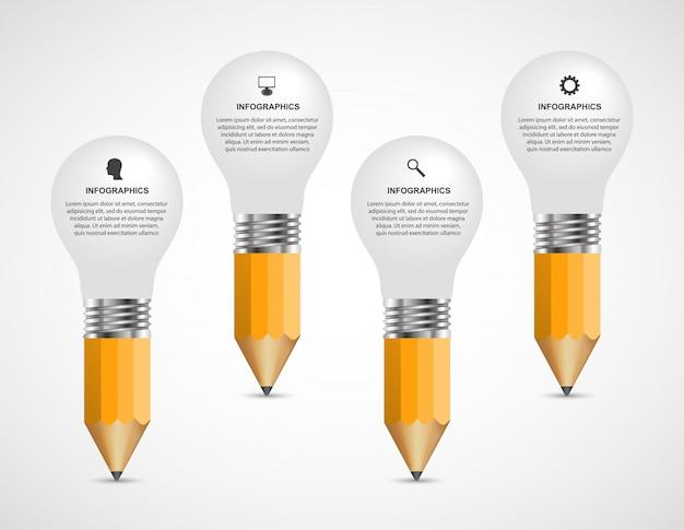 教育のインフォグラフィックデザインテンプレートです。 Premiumベクター