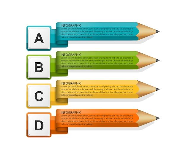 ビジネスプレゼンテーションのための教育インフォグラフィック Premiumベクター