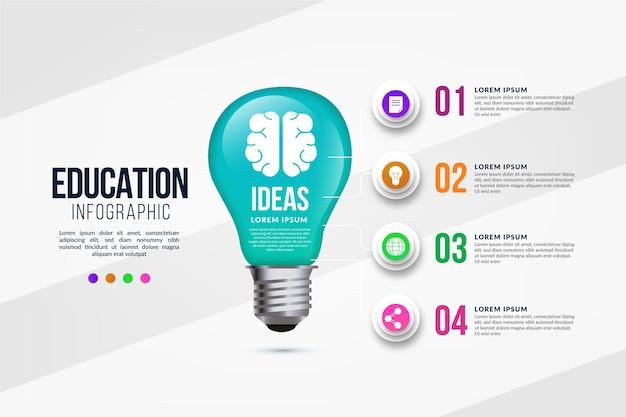 教育インフォグラフィックグラデーションテンプレート Premiumベクター