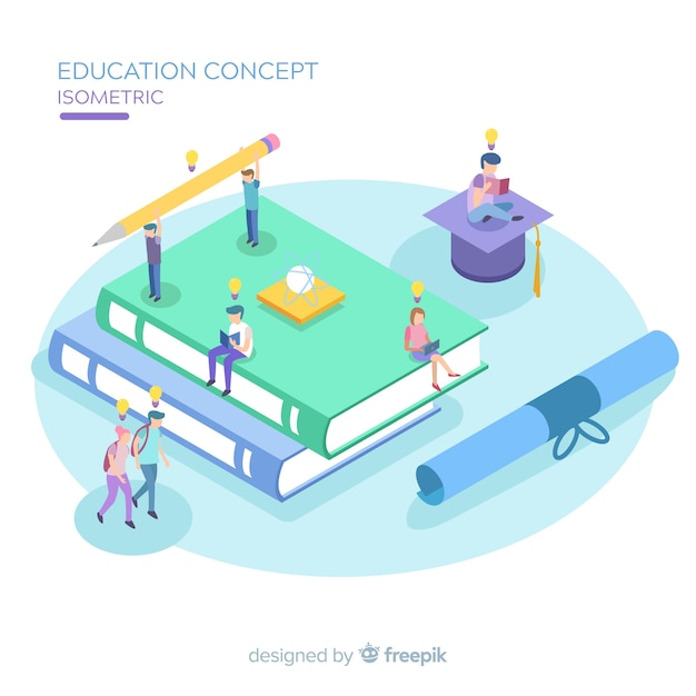 Education isometric background Free Vector