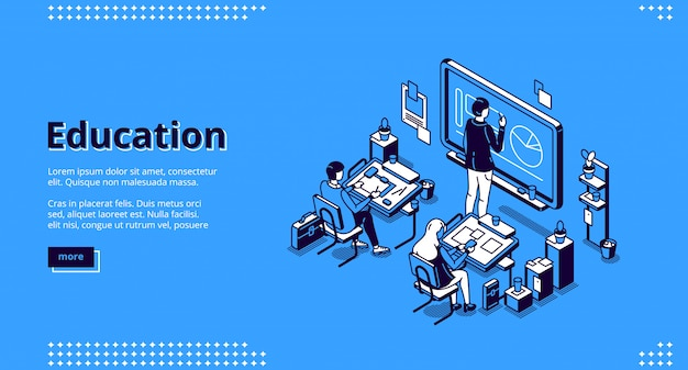Education isometric landing page, teacher students Free Vector
