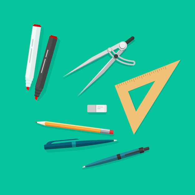 Education items or school study tools icons set vector flat cartoon Premium Vector