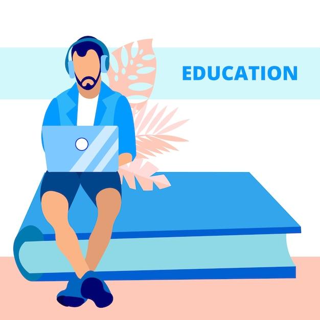 Education, knowledge gaining flat vector banner Premium Vector