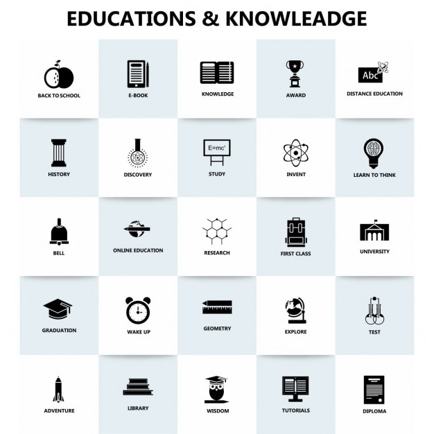 Education and knowledge, icons Free Vector
