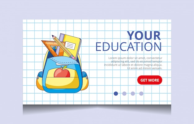 Education landing page vector Premium Vector