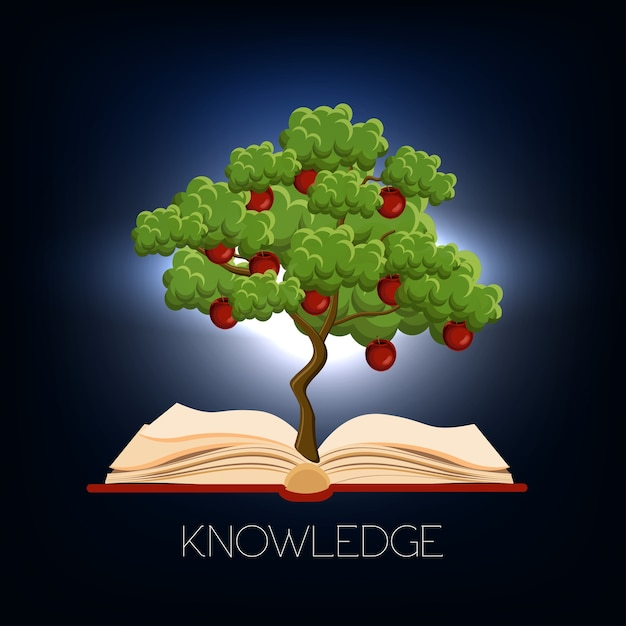 Education, learning concept with apple tree growing from the open book Premium Vector