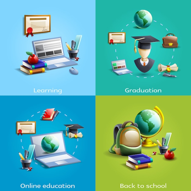 Education and learning icons set Free Vector