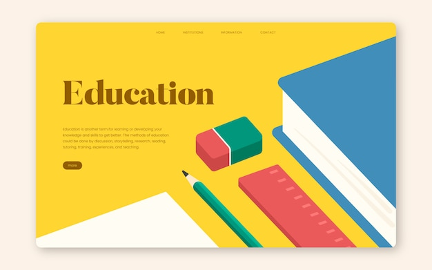 Education and learning informational website graphic Free Vector