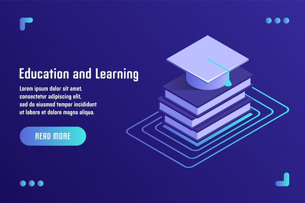 Education and learning, online training, distance education, tutorials, e-learning. vector illustration in flat isometric 3d style. Premium Vector