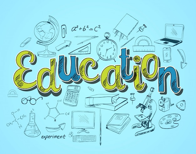 Education lettering concept Free Vector