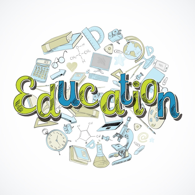 Education lettering Free Vector