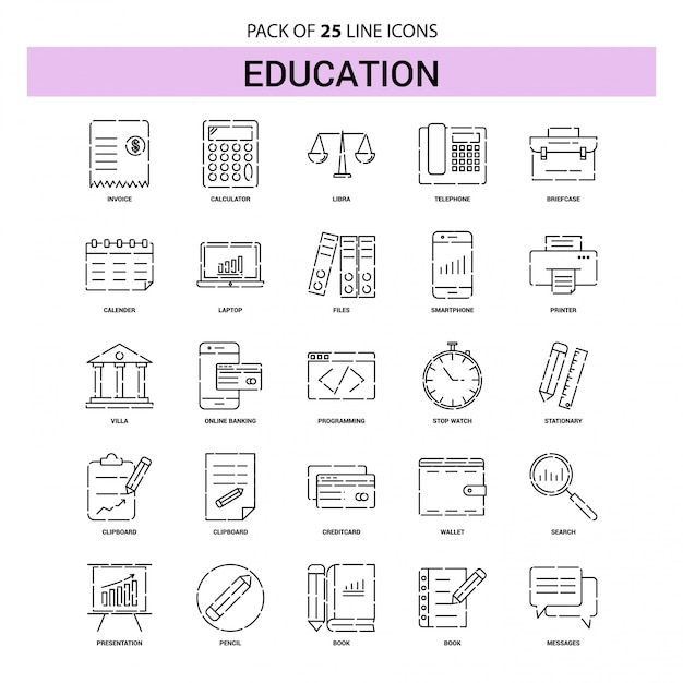 Education line icon set - 25 dashed outline style Premium Vector