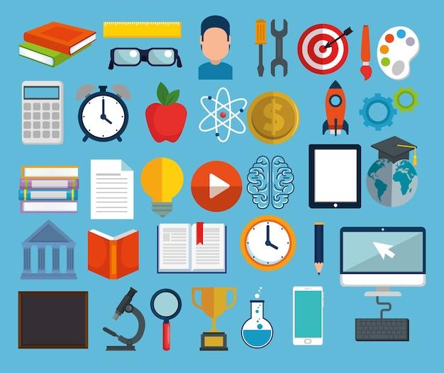 Education on line set icons Premium Vector