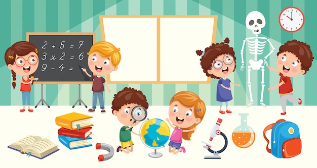 Education of little students Premium Vector