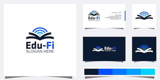 Дизайн логотипа образования и визитная карточка Premium векторы