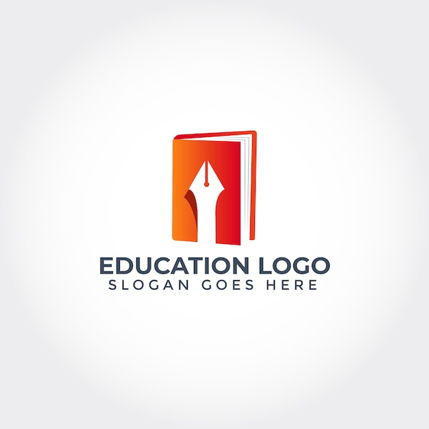 Education logo with book and pen Premium Vector