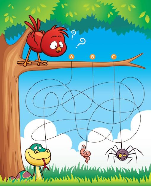 Education maze game bird with food Premium Vector