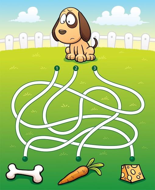 Обучение лабиринту game dog с едой Premium векторы