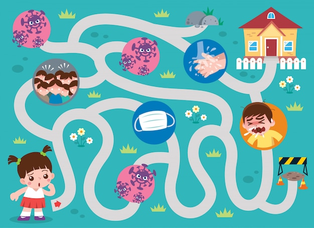 Education maze game kids to home. game for kids. virus concept Premium Vector