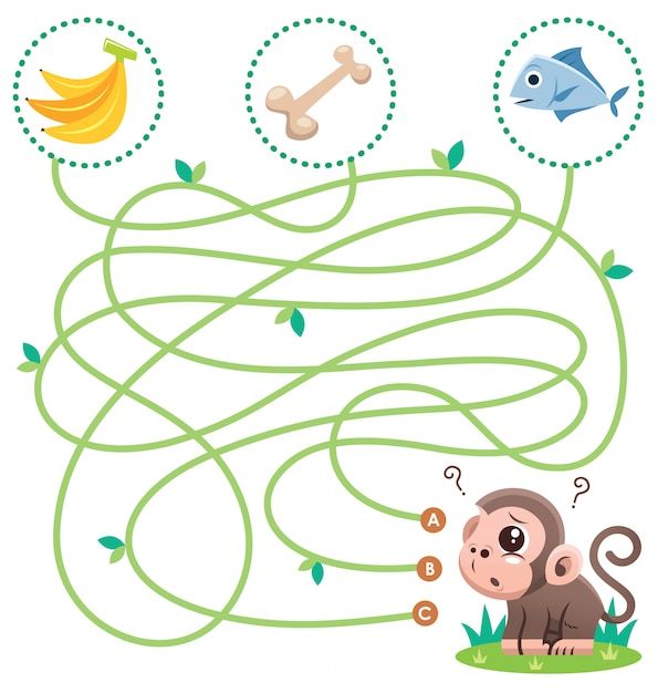 Education maze game monkey with food. game for kids Premium Vector