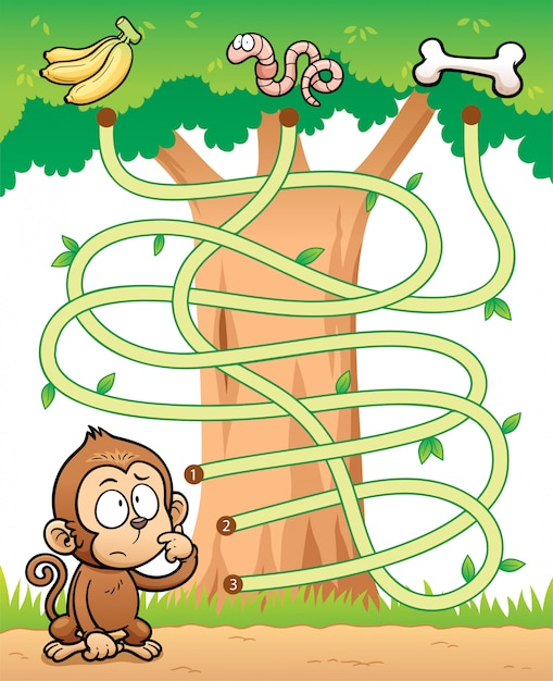 Education maze game monkey with food Premium Vector