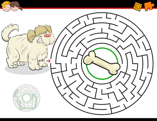 Education maze or labyrinth game with dog and bone Premium Vector