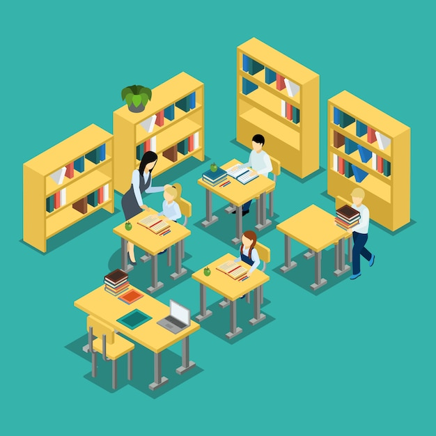 Education middle school classroom isometric banner Free Vector