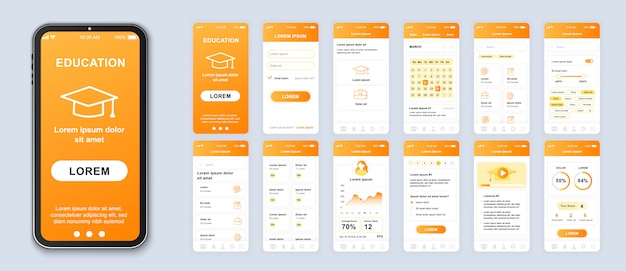 Education mobile app pack of ui, ux, gui screens for application Premium Vector