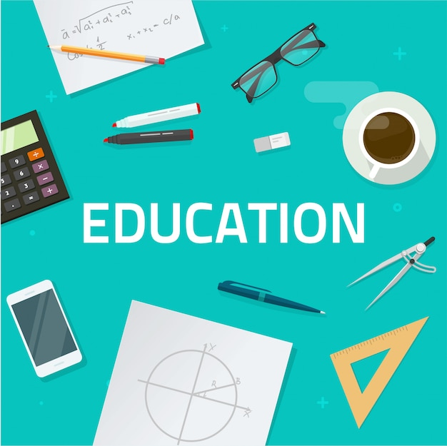 Education objects on work desk Premium Vector