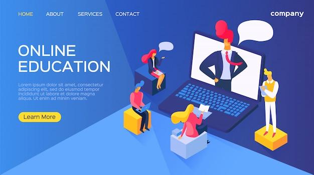 コンピューターのラップトップ、イラストでオンライン教育。ビジネスの人々は、デジタルインターネットスクールでキャラクタートレーニングを漫画します。 Premiumベクター