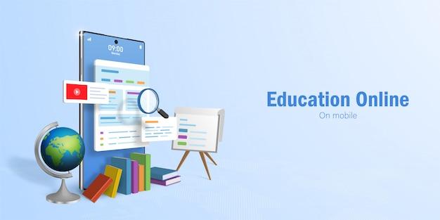 教育オンラインコンセプト、オンライン教育のためのwebバナー、スマートフォンを使用したeラーニング Premiumベクター