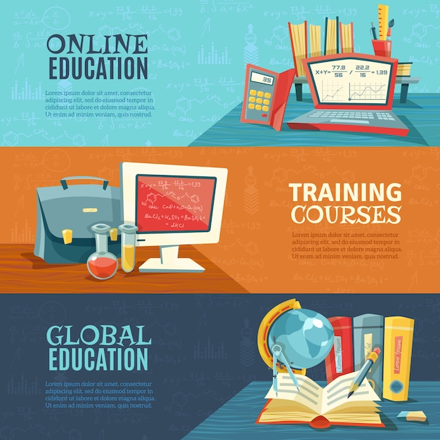 Education online courses banners set Free Vector