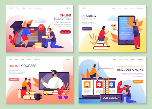 Education, online library book store and university courses website landing pages. job search, recruitment agency and education training portal trendy flat templates Premium Vector