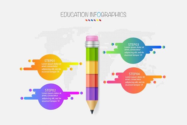 Education pencil infographics step 4 option. vector illustration. Premium Vector