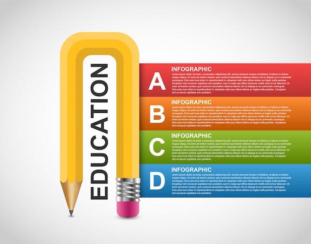 教育鉛筆オプションインフォグラフィックデザインテンプレート。 Premiumベクター