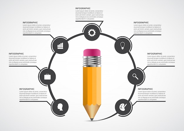 教育鉛筆オプションインフォグラフィック。 Premiumベクター