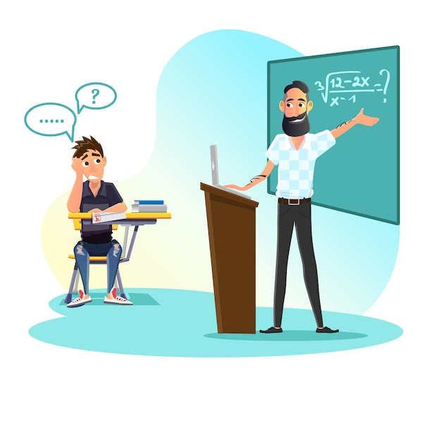Education process, professor and student dialog Premium Vector