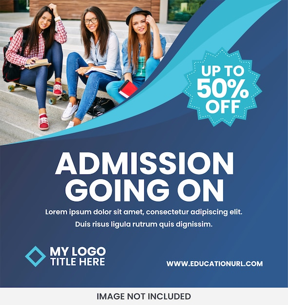Education school banner ad template Premium Vector