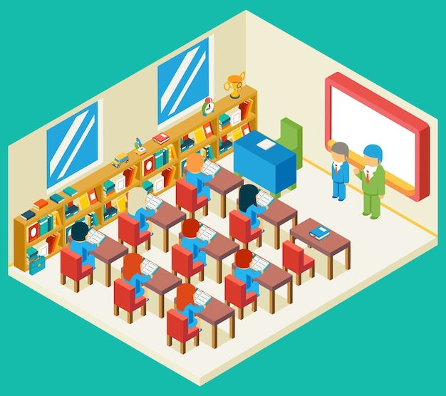 Education and school class isometric 3d concept. bookshelf and teacher, pupil and isometric people, classroom and children, Free Vector