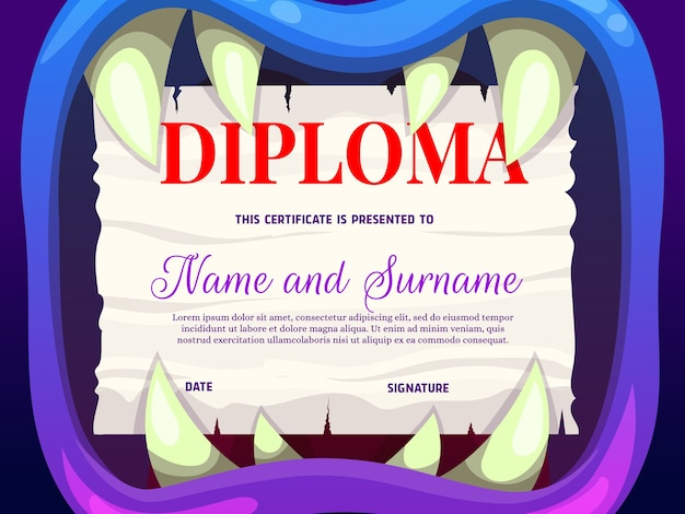 Education school diploma with monster mouth Premium Vector