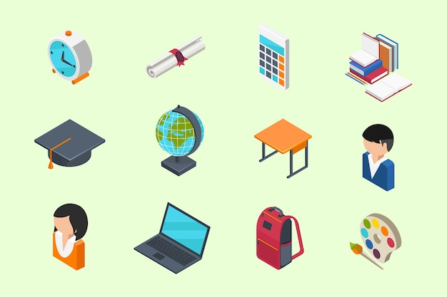 Education and school isometric 3d icons set in flat style Free Vector