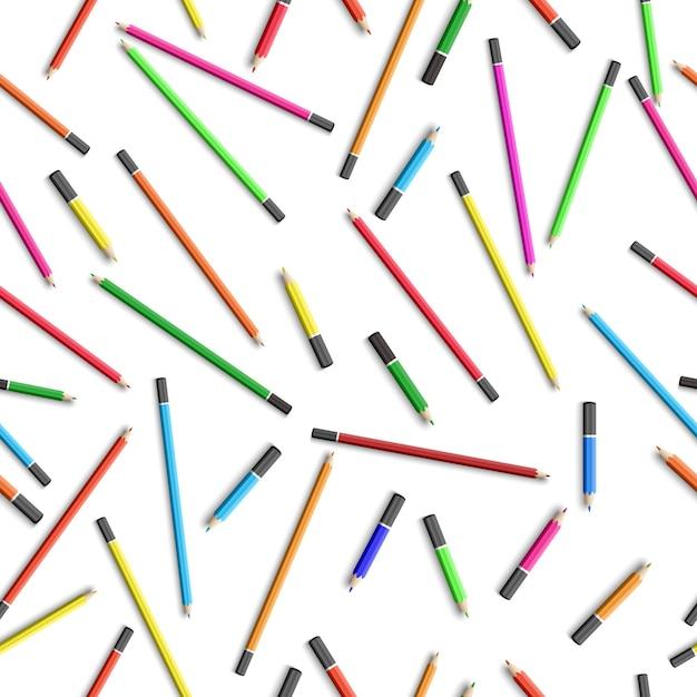 カラフルな鉛筆で教育のシームレスパターン 無料ベクター