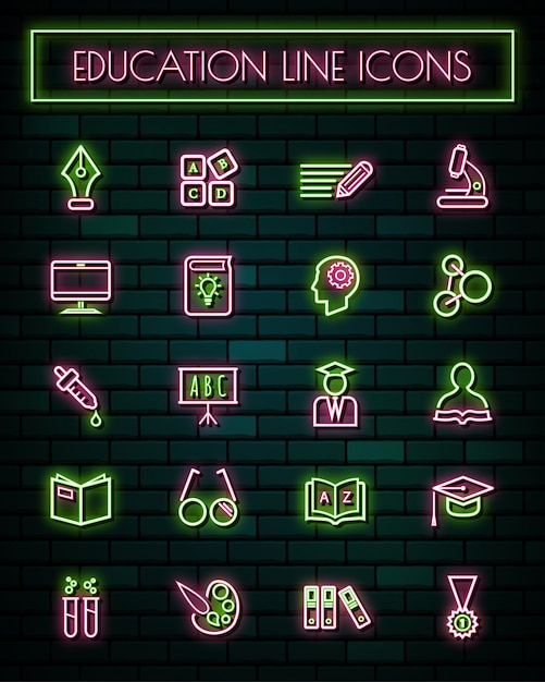 Education thin neon glowing line icons set Premium Vector